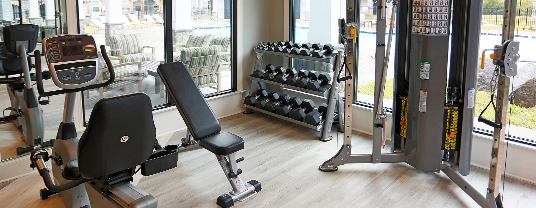 Fitness Center With Freeweights & Natural Lighting At Laurel View Apartments in Concord, NC